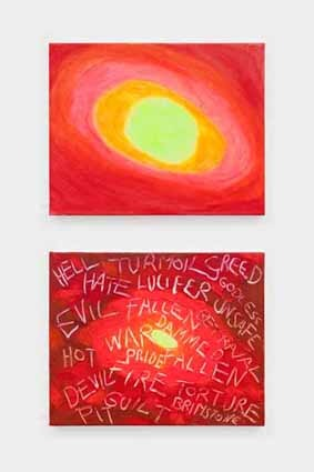 Hell diptych painitng red with words